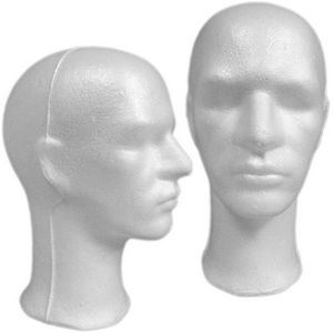Male Styrofoam Mannequin Head - Long Neck LESS THAN PERFECT, FINAL SALE