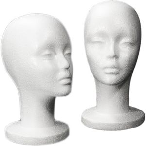 Female Styrofoam Mannequin Head - Long Neck