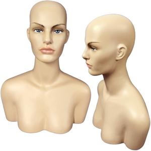 Female Mannequin Head Display Form with Shoulder Bust